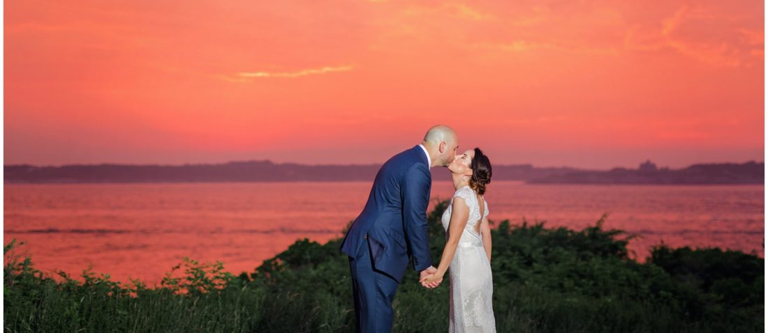 Bride & Groom at Sunset - Intimate Wedding at Castle Hill Inn in Newport, Rhode Island
