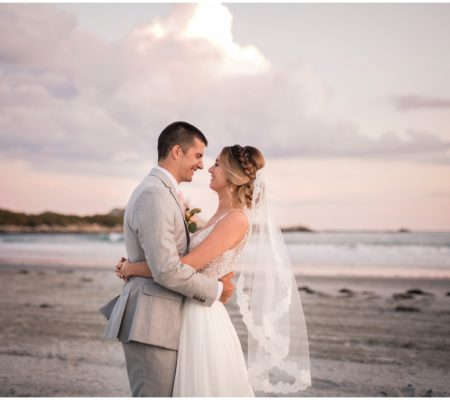 Sunset Wedding by the Ocean at Bailey's Beach in Newport, Rhode Island